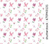 watercolor pattern butterflies  ... | Shutterstock . vector #670943131