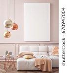 mock up poster with vintage... | Shutterstock . vector #670947004