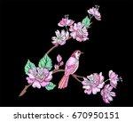 embroidery cherry or sakura... | Shutterstock .eps vector #670950151