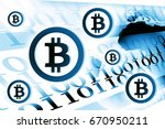 bitcoin currency background... | Shutterstock . vector #670950211