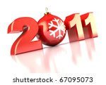 abstract 3d illustration of 2011 xmas sign over white background - stock photo