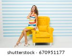 amazing joyful girl with long... | Shutterstock . vector #670951177