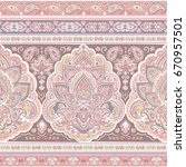 beautiful indian floral paisley ... | Shutterstock .eps vector #670957501