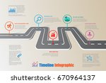 design template  road map... | Shutterstock .eps vector #670964137