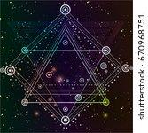 hipster mystic sacred geometry. ... | Shutterstock .eps vector #670968751