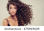 brunette  girl with long  and   ... | Shutterstock . vector #670969639