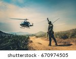 rescue helicopter moving in...   Shutterstock . vector #670974505