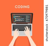 coding php or html on laptop....