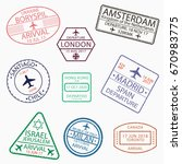 visa passport stamps for travel ... | Shutterstock .eps vector #670983775