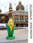 Small photo of MITCHELL, SOUTH DAKOTA - JUNE 22, 2017: The Corn Palace. Built in 1892 as a way for farmers to display their bounty to prove the fertility of the soil to attract immigrant farmers to settle there.