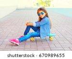 fashion child little girl... | Shutterstock . vector #670989655