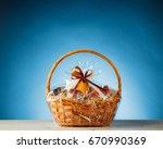 gift basket on blue background | Shutterstock . vector #670990369