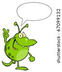 spotted green alien smiling and ... | Shutterstock .eps vector #67099132