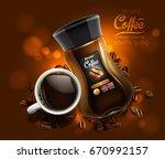 design of advertising coffee... | Shutterstock .eps vector #670992157