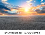 asphalt road and sky cloud... | Shutterstock . vector #670995955