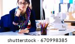 beautiful fashion designer...   Shutterstock . vector #670998385