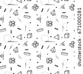 abstract memphis pattern with... | Shutterstock . vector #671000281