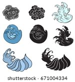 japanese wave for tattoo. hand... | Shutterstock .eps vector #671004334