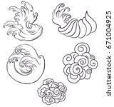 doodle and line art japanese... | Shutterstock .eps vector #671004925