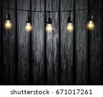 light bulbs with glowing light | Shutterstock .eps vector #671017261