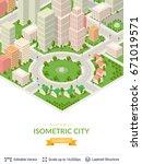 isometric city popular... | Shutterstock .eps vector #671019571