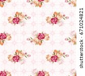 seamless floral pattern with... | Shutterstock .eps vector #671024821