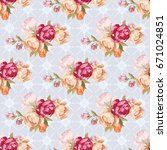 seamless floral pattern with... | Shutterstock .eps vector #671024851