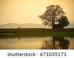 vietnam landscape at sunset.... | Shutterstock . vector #671035171
