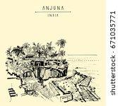 anjuna beach  goa  india.... | Shutterstock .eps vector #671035771