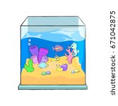 fish tank cartoon vector... | Shutterstock .eps vector #671042875