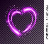 shiny heart shaped frame on... | Shutterstock .eps vector #671043061