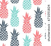 vector pineapple fruit seamless ... | Shutterstock .eps vector #671051824