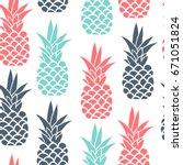 vector pineapple fruit seamless ... | Shutterstock .eps vector #671051824