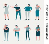 various pain people character... | Shutterstock .eps vector #671052019