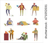 homeless people in various... | Shutterstock .eps vector #671052031