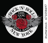 girl gang new york rock and... | Shutterstock .eps vector #671058697