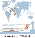 aviation flyer with jet... | Shutterstock .eps vector #671061391