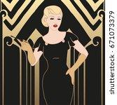 flapper girl  retro party...   Shutterstock .eps vector #671073379
