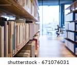 library book shelf with people... | Shutterstock . vector #671076031