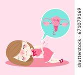 cartoon woman with uterus... | Shutterstock .eps vector #671079169