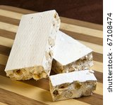 Постер, плакат: white nougat and hazelnuts