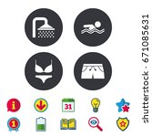 swimming pool icons. shower... | Shutterstock .eps vector #671085631