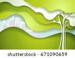 paper cut art design style....   Shutterstock .eps vector #671090659
