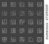 floor plan icons   vector... | Shutterstock .eps vector #671092039