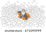 clerk in a lifebuoy among waves ... | Shutterstock .eps vector #671095999
