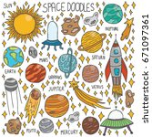 vector hand drawn doodle space... | Shutterstock .eps vector #671097361