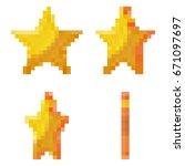 pixel gold stars flips. vector...