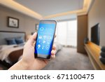mobile phone with apps in... | Shutterstock . vector #671100475