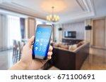 smart phone with apps in luxury ... | Shutterstock . vector #671100691