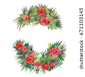 wreaths with flowers | Shutterstock . vector #671103145